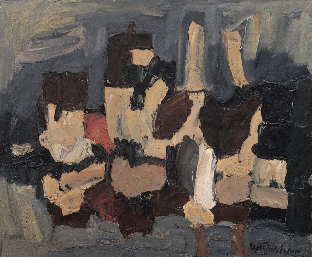 ... William H. Johnson (1901-1970) Harbor, Kerteminde oil on burlap view